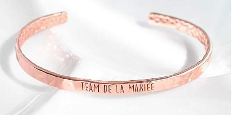 """Bracelet pour témoins or rose """"Team Mariée"""" de la marque Majolie"""