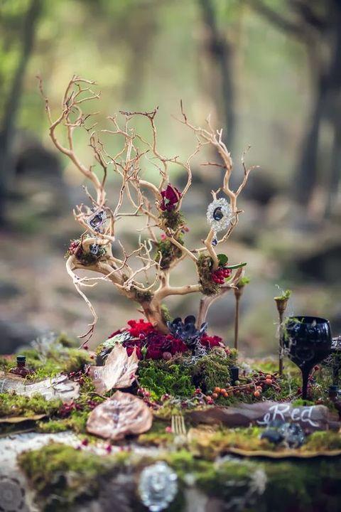 Centre de table mariage dans les bois