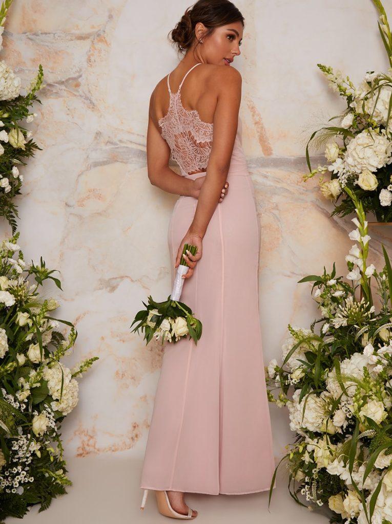 Demoiselle d'honneur couleur rose pâle