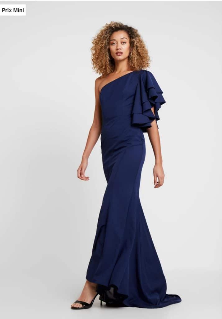 Robe demoiselle d'honneur longue bleu marine