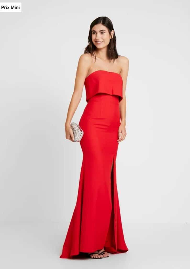 Robe longue bustier rouge demoiselle d'honneur