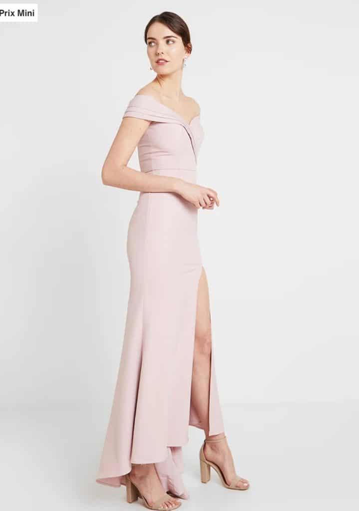 Robe longue col bardot rose pâle demoiselle d'honneur