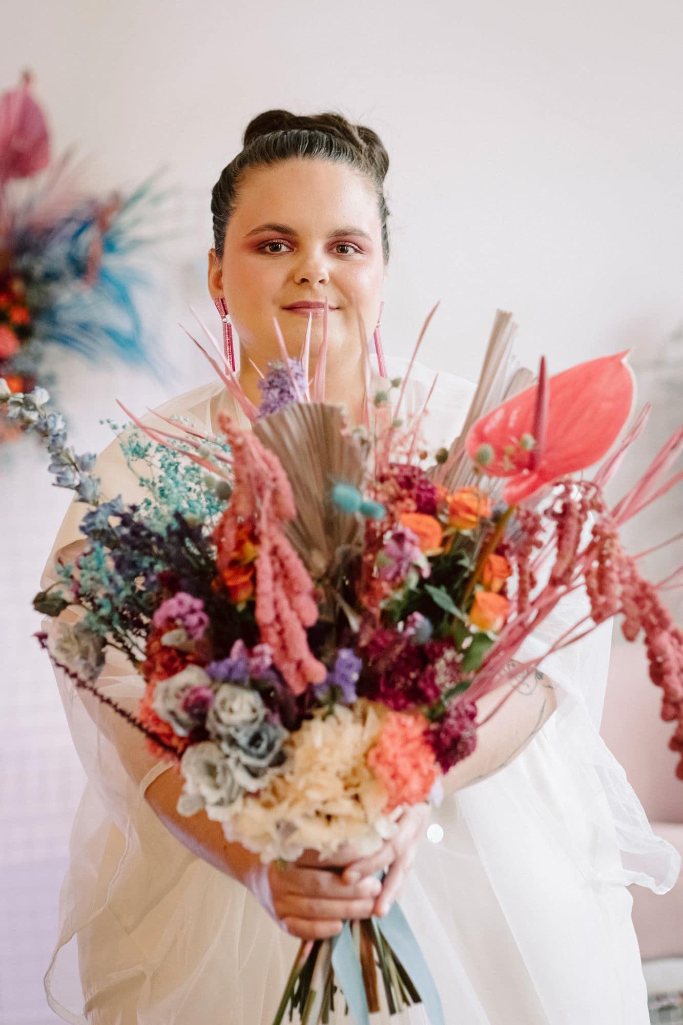 Bouquet coloré mariée